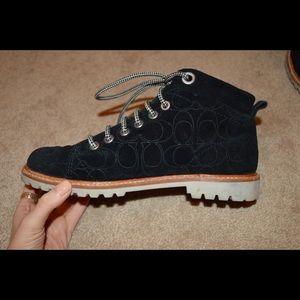 Coach black work boots